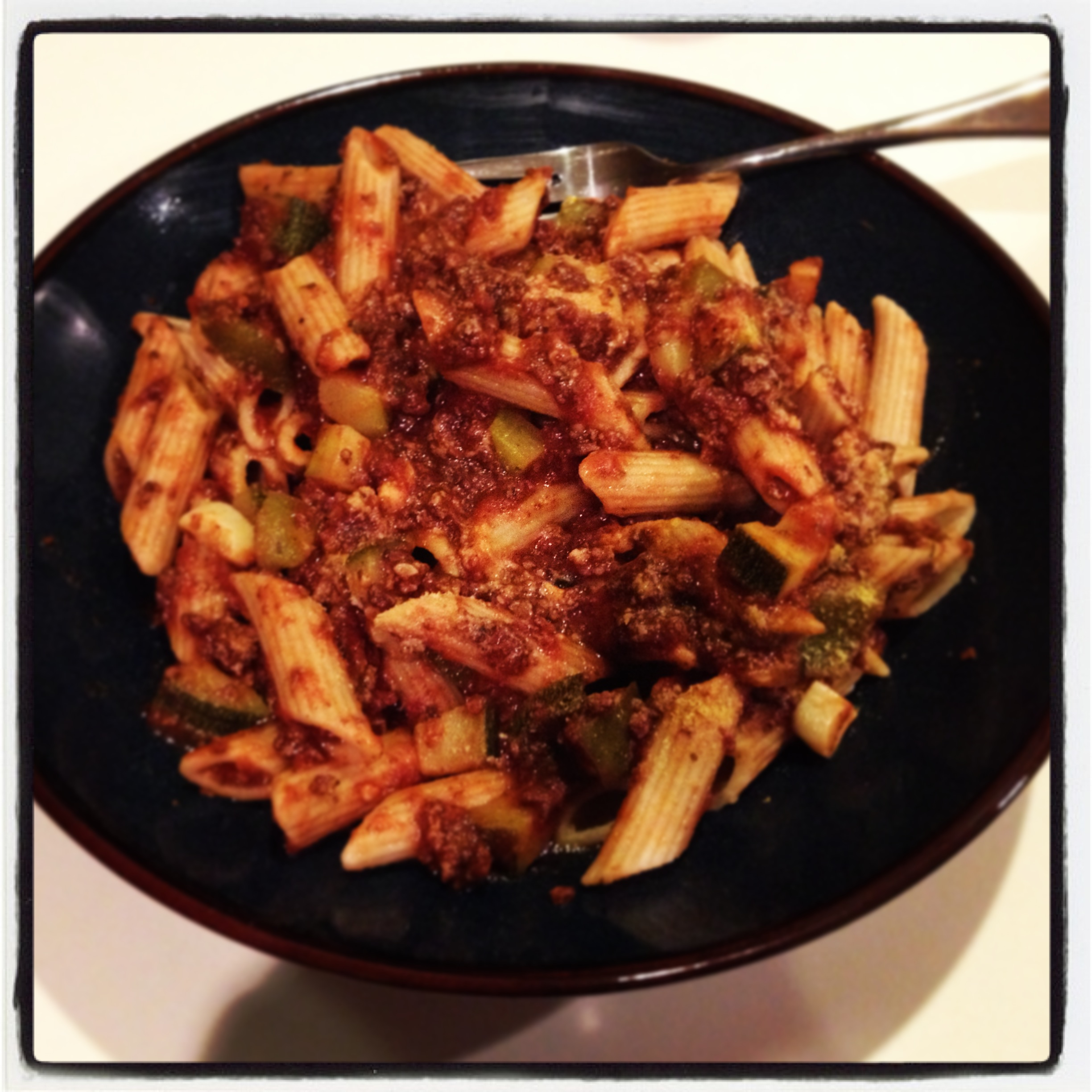 "Penne Pasta with ""Meat"" Sauce 