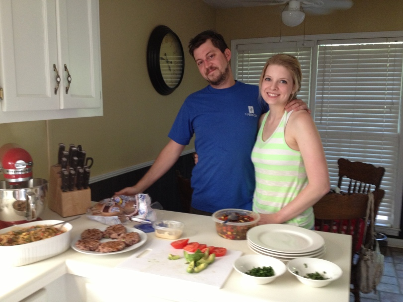John and Kristina in front of our vegan feast