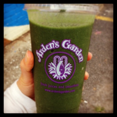 Smoothie from Arden's Garden contains pineapple, mango, papaya, raspberries and super greens.
