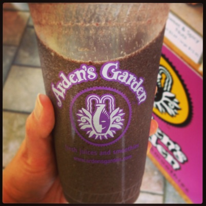 Smoothie from Arden's Garden contains pineapple, blackberries, cherries, peaches and super greens.