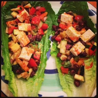 Tofu and Veggie Basil Lettuce Wraps