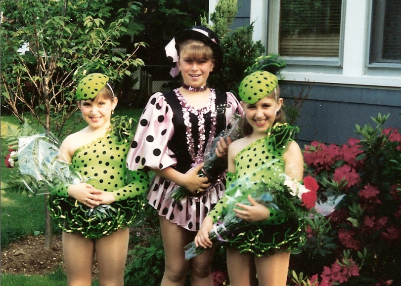 Alison (L) and sisters before tap dance recital