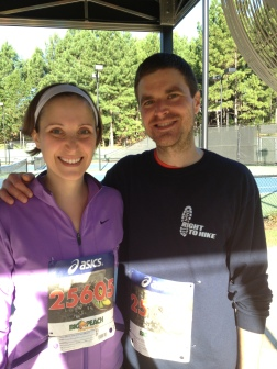Me and the hubby after the 5K