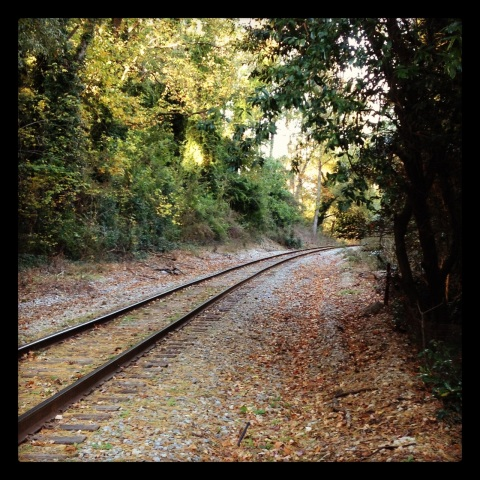 Eery railroad track on my Halloween run in 2013