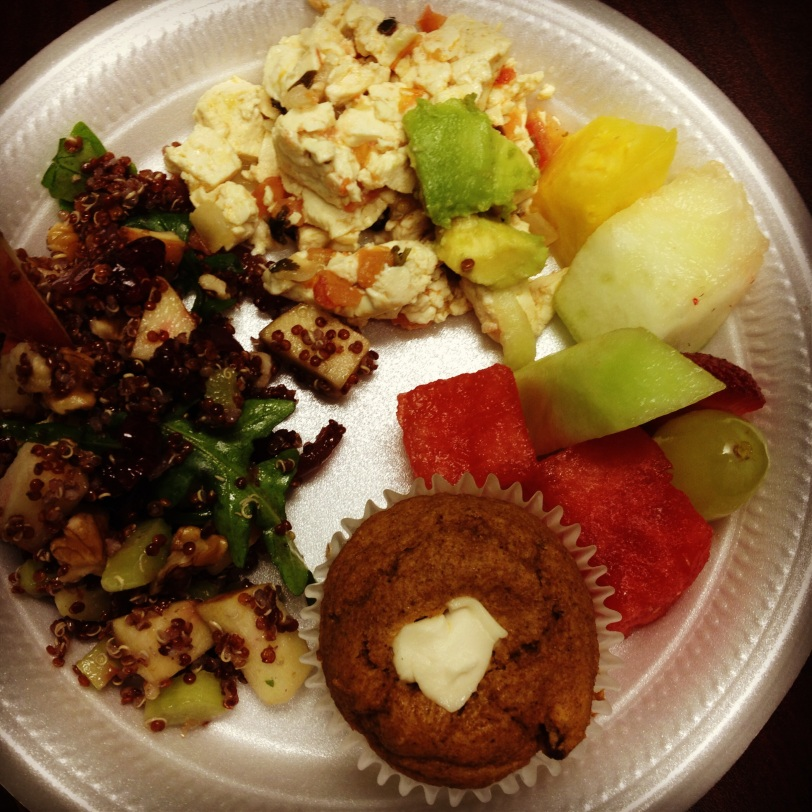 My work's holiday breakfast potluck wound up being all vegan, thanks to my amazing employees! How sweet of them!