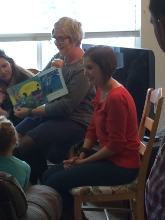 JL and Alison reading Thanksgiving book to kids