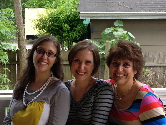 From left to right: my sister Liz, me and my mom