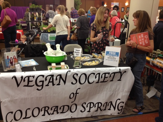 Vegan Society table at HerbFest