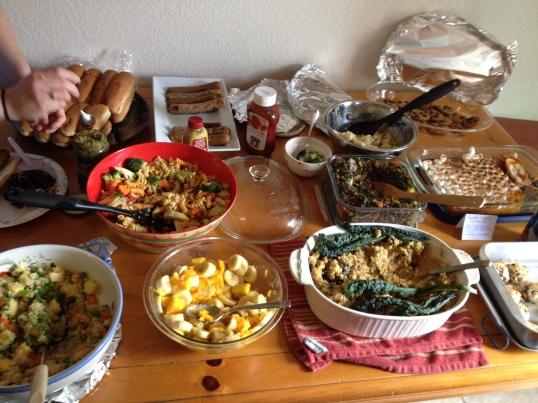 Vegan spread at potluck