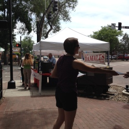 Me leafleting at the Farmer's Market
