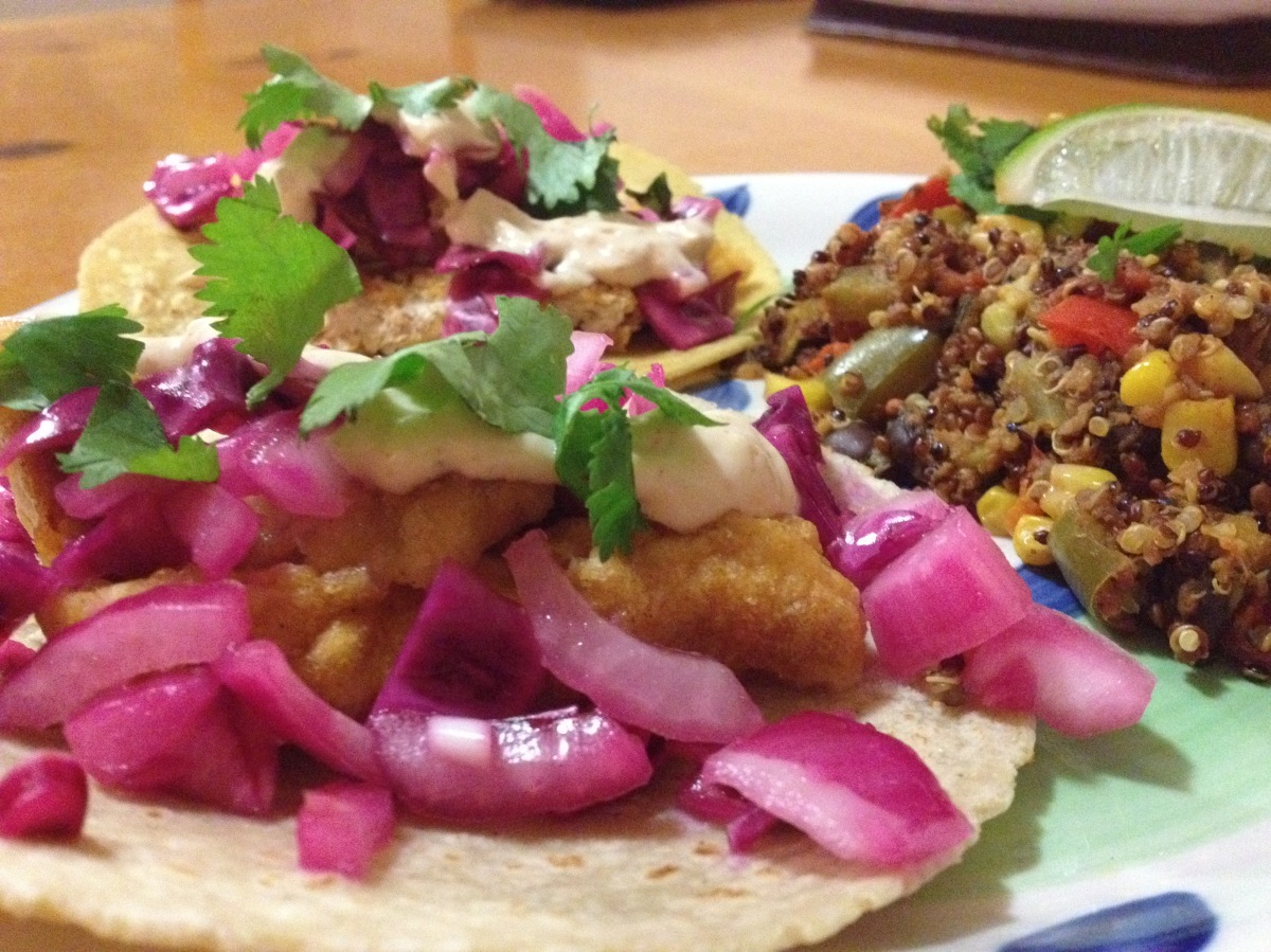 "Meatless Monday: ""Fish"" Tacos and Mexican Quinoa"