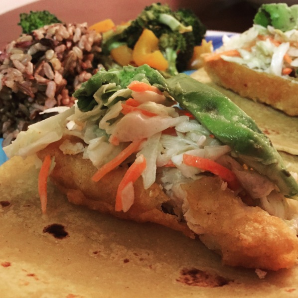 """Fish"" Tacos, Rice and Veggies"