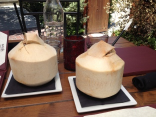 Coconut drinks at Sun Cafe in Sherman Oaks